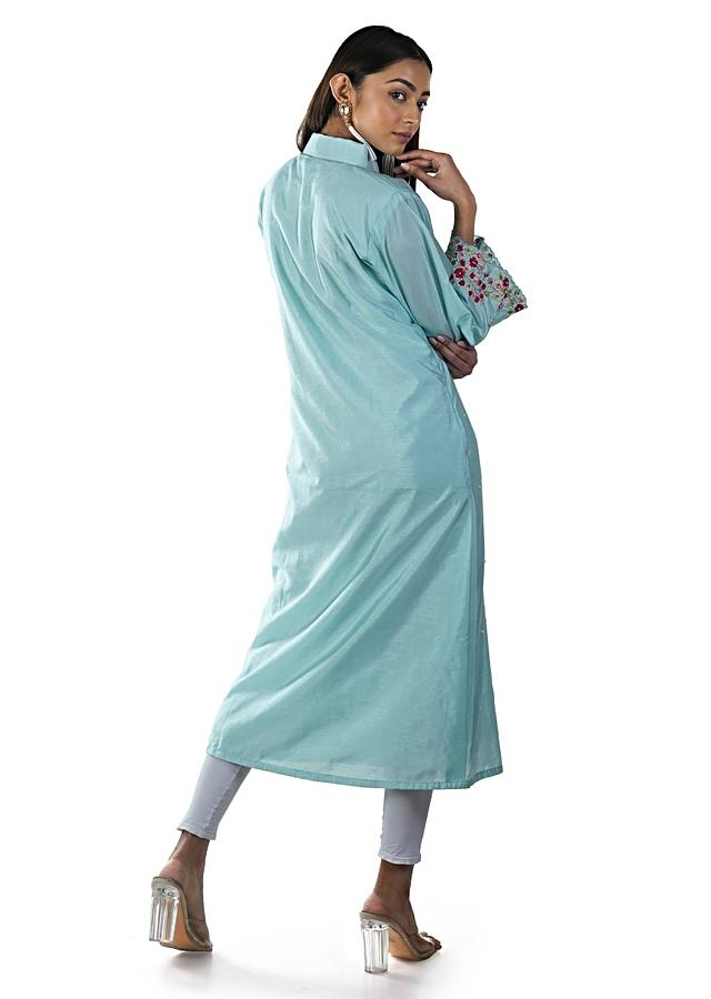 Blue Shirt Style Asymmetrical Tunic With Floral Embroidery And Bell Sleeves Online - Kalki Fashion