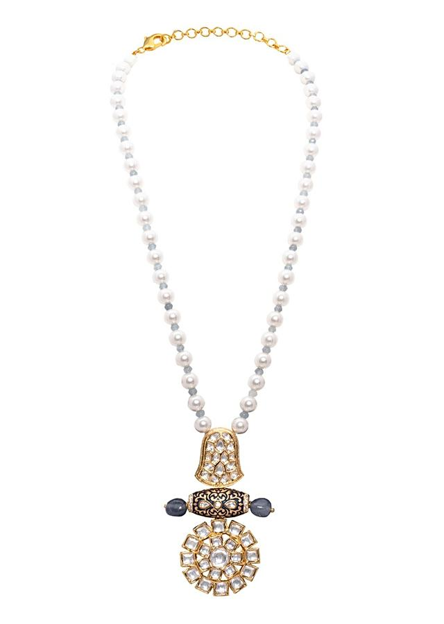 Blue And White Pearl Necklace Set With A Kundan Pendant And Hand Carved Meenakari On Shell Pearls Joules By Radhika