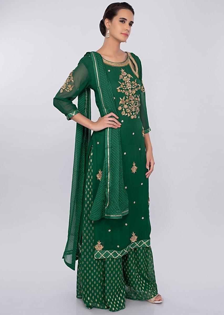 d3a31a255a Dark green georgette palazzo suit set with embroidery and butti only on  kalkiMore Detail