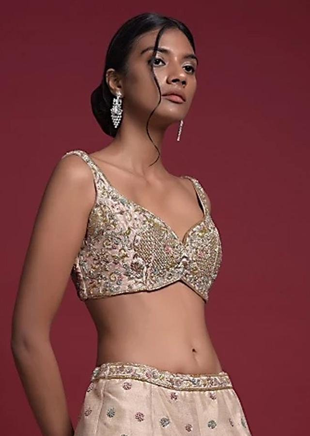 Gold Beige Blouse In Raw Silk With Sweetheart Neckline And Embroidered Floral And Checks Pattern Online - Kalki Fashion