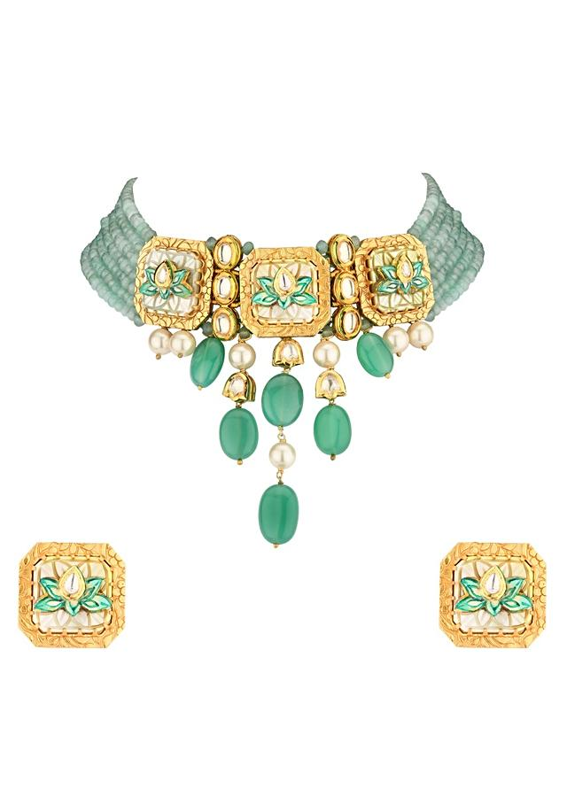 Green Enamelled Kundan Necklace And Earrings Set With Quartz Drops And Mother Of Pearl Carving Online - Joules By Radhika