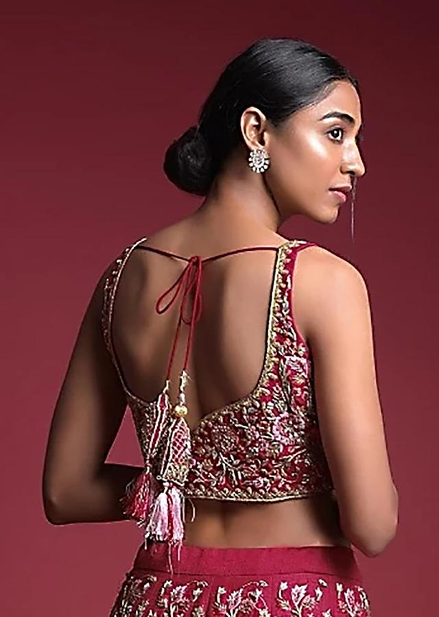 Strawberry Pink Choli In Raw Silk Adorned With Resham And Zardosi Embroidered Floral Jaal Online - Kalki Fashion
