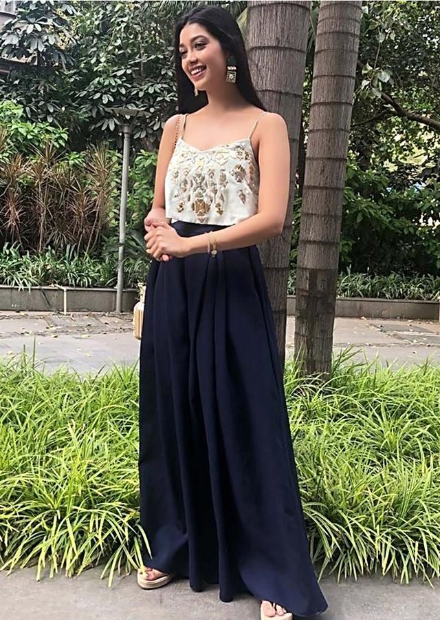 Digangana Suryavanshi in Kalki mint green crop top with navy blue palazzo