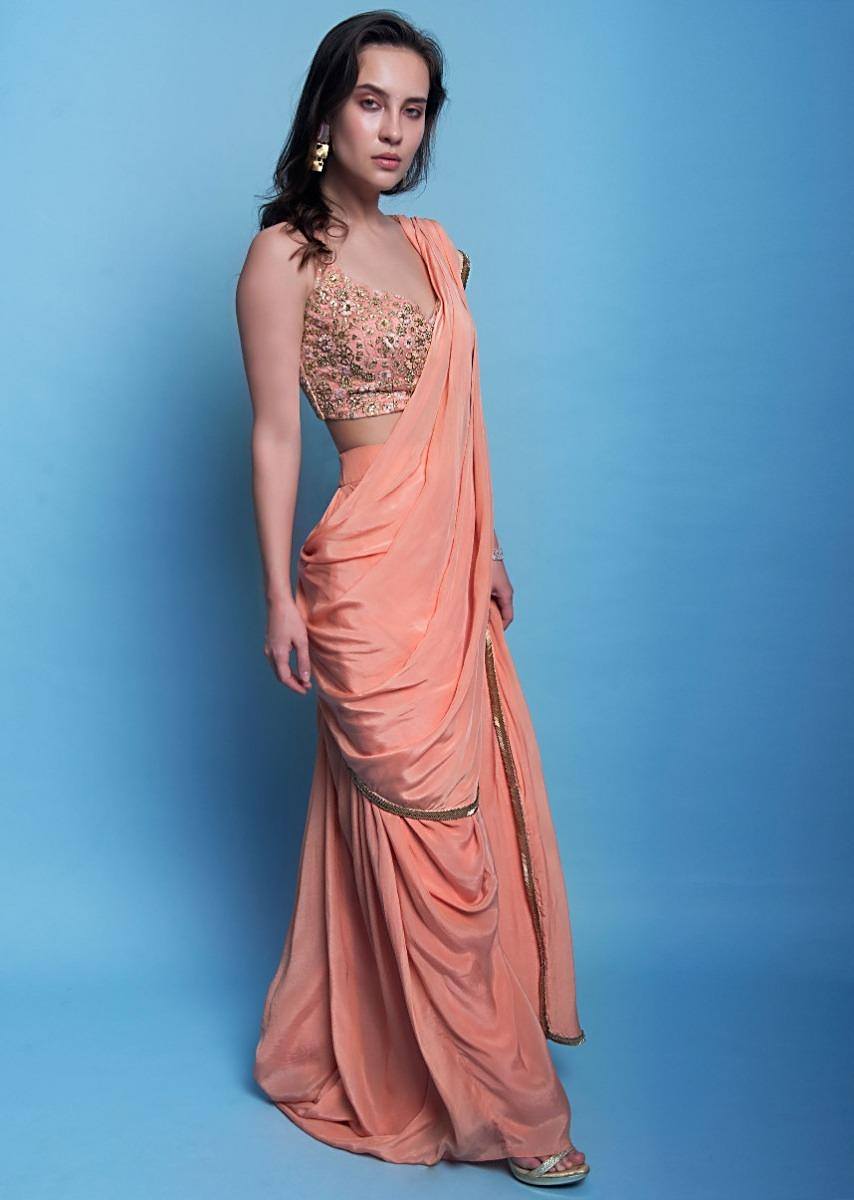 a13234685 Peach crepe satin ready plated dhoti saree only on KalkiMore Detail