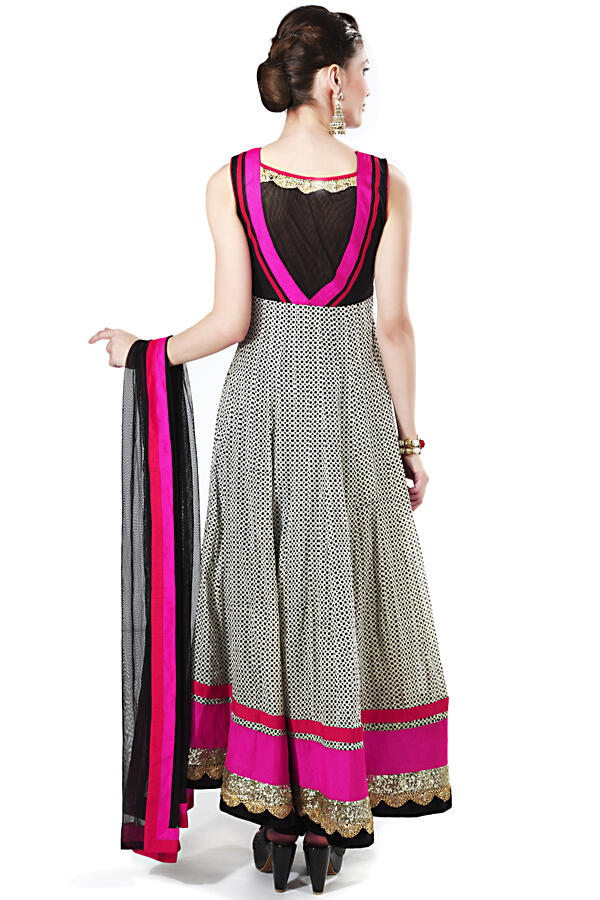 Printed anarkali suit featuring with embellished butti