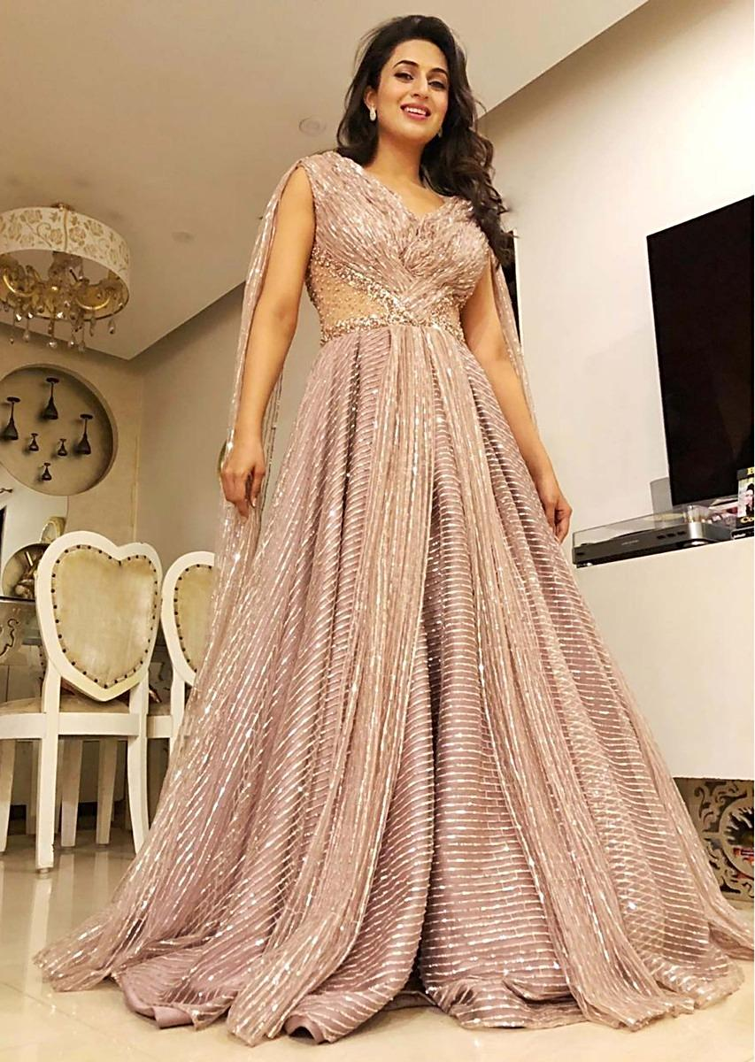 4c25fa20b1 Divyanka Tripathi in kalki natural beige satin jaal embroidered net gown  with drape at the back