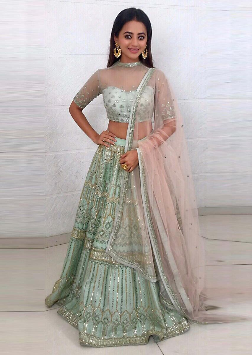 5360bbc98 Helly Shah pistachio green embellished net lehenga paired with a matching  net blouse and light cream net dupatta More Detail