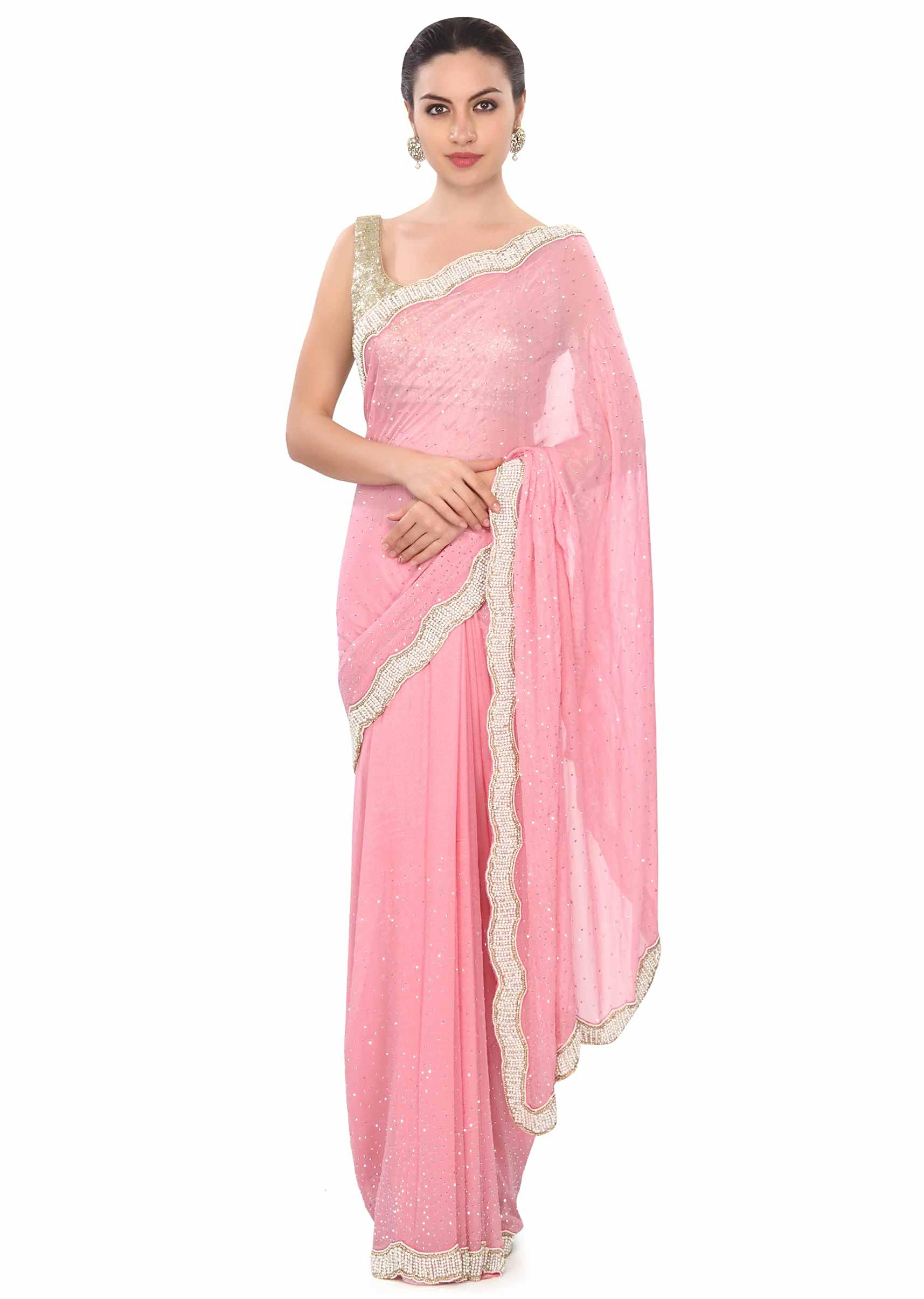 f5763f5e4c23d Pink saree with stone and pearl border only on KalkiMore Detail