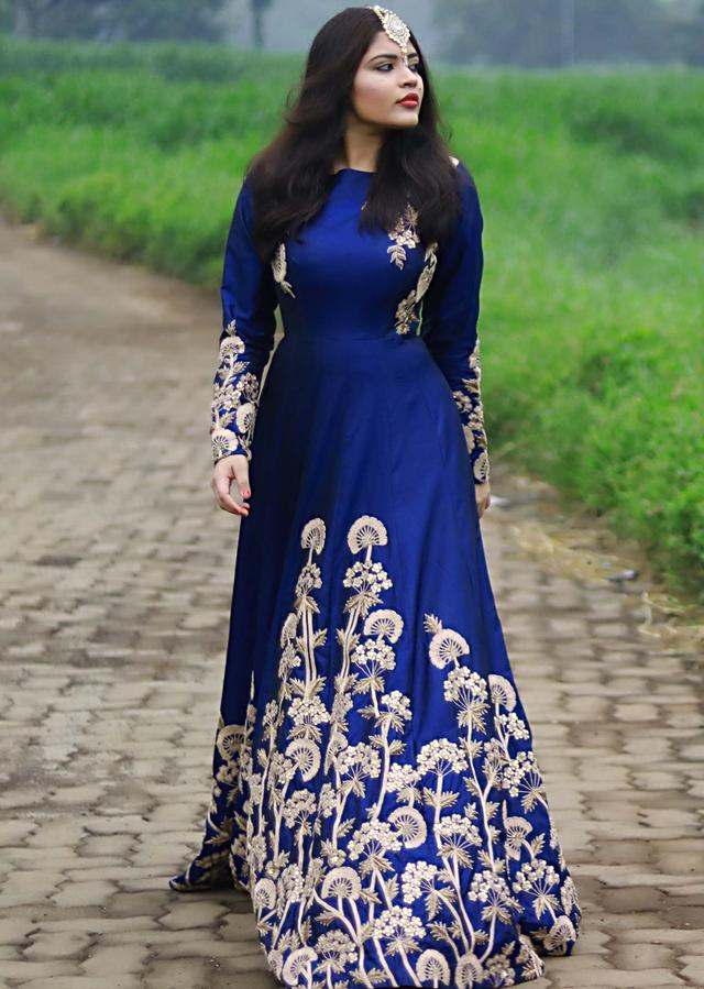 Navy Blue Gown With Zari And Sequins In Floral Embroidery Online - Kalki Fashion