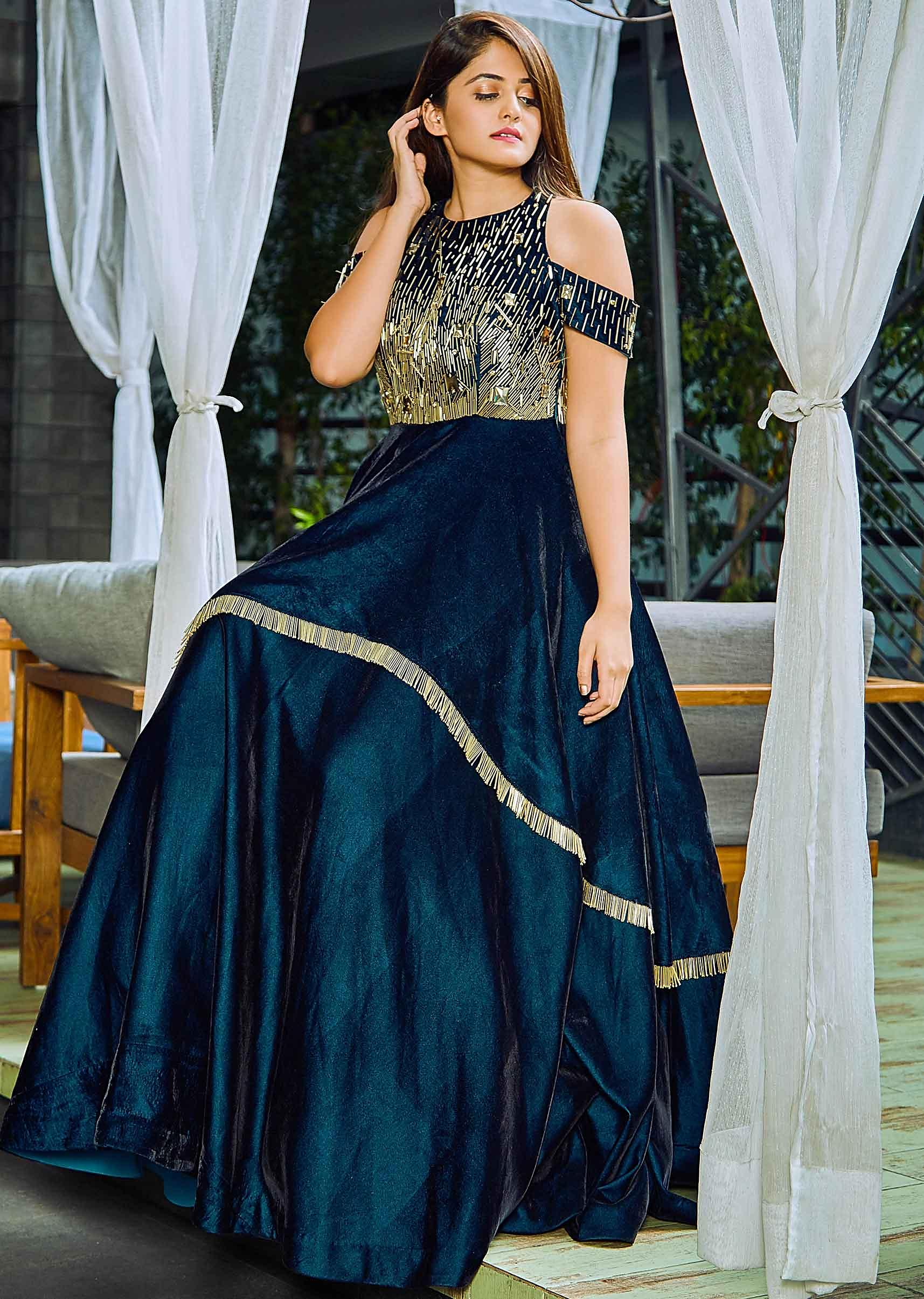 f13baaeddfd98 Teal green double layer velvet gown embellished in tassel lace only on Kalki