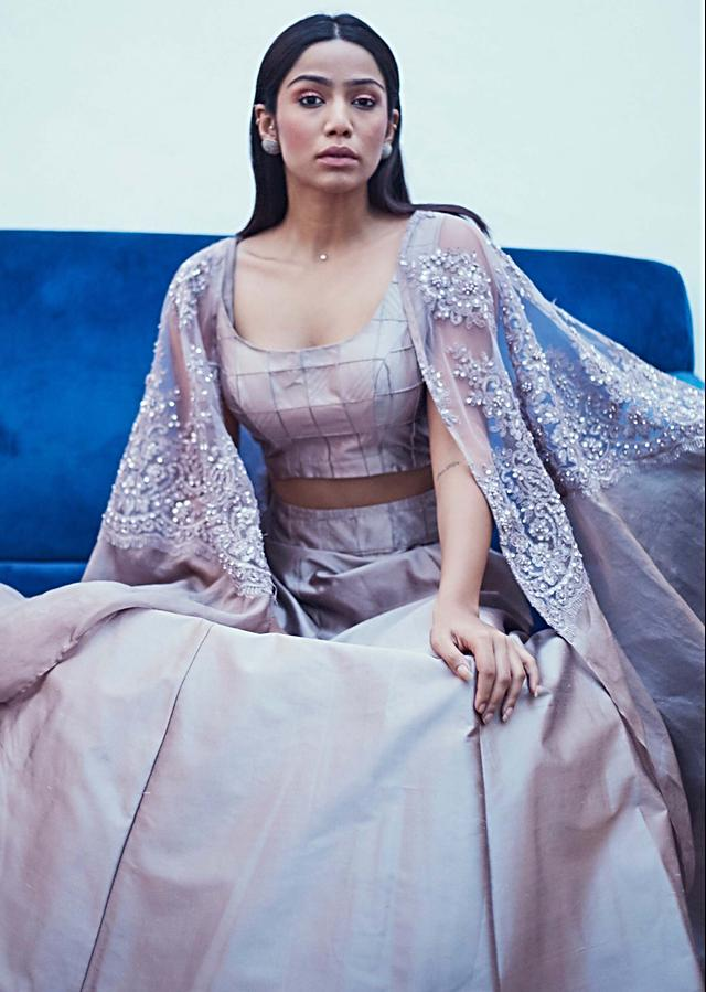 Gull Grey Top And Skirt In Taffeta Silk With Embellished Detachable Cape Online - Kalki Fashion