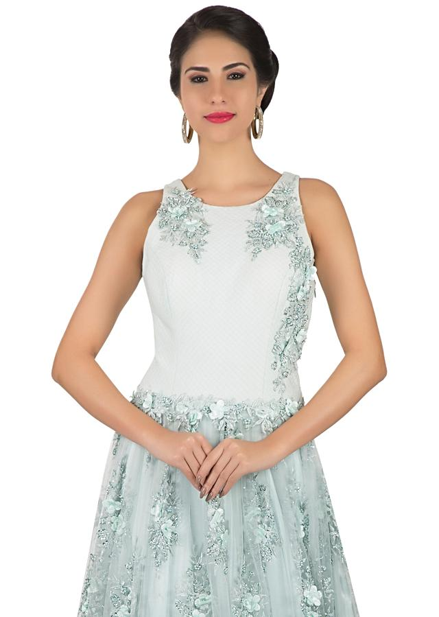 Mint green gown in motif and 3D flower embroidery only on Kalki