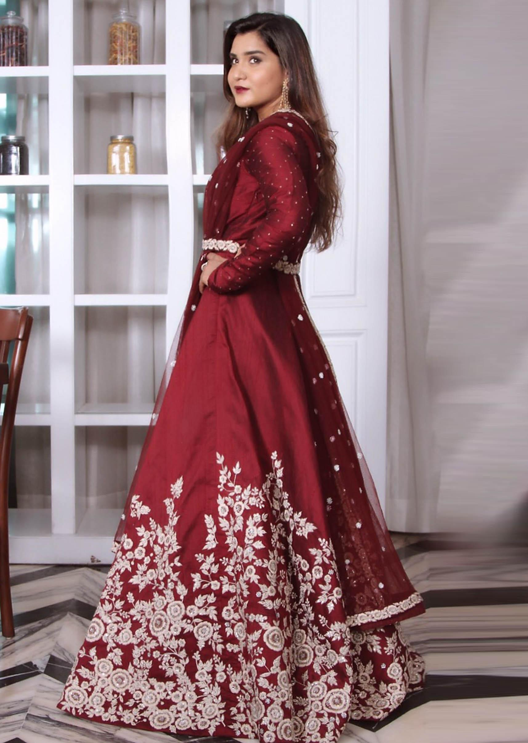 9e7a4edcb37e5 Anarkali suit in maroon raw silk with embroidered belt only on KalkiMore  Detail