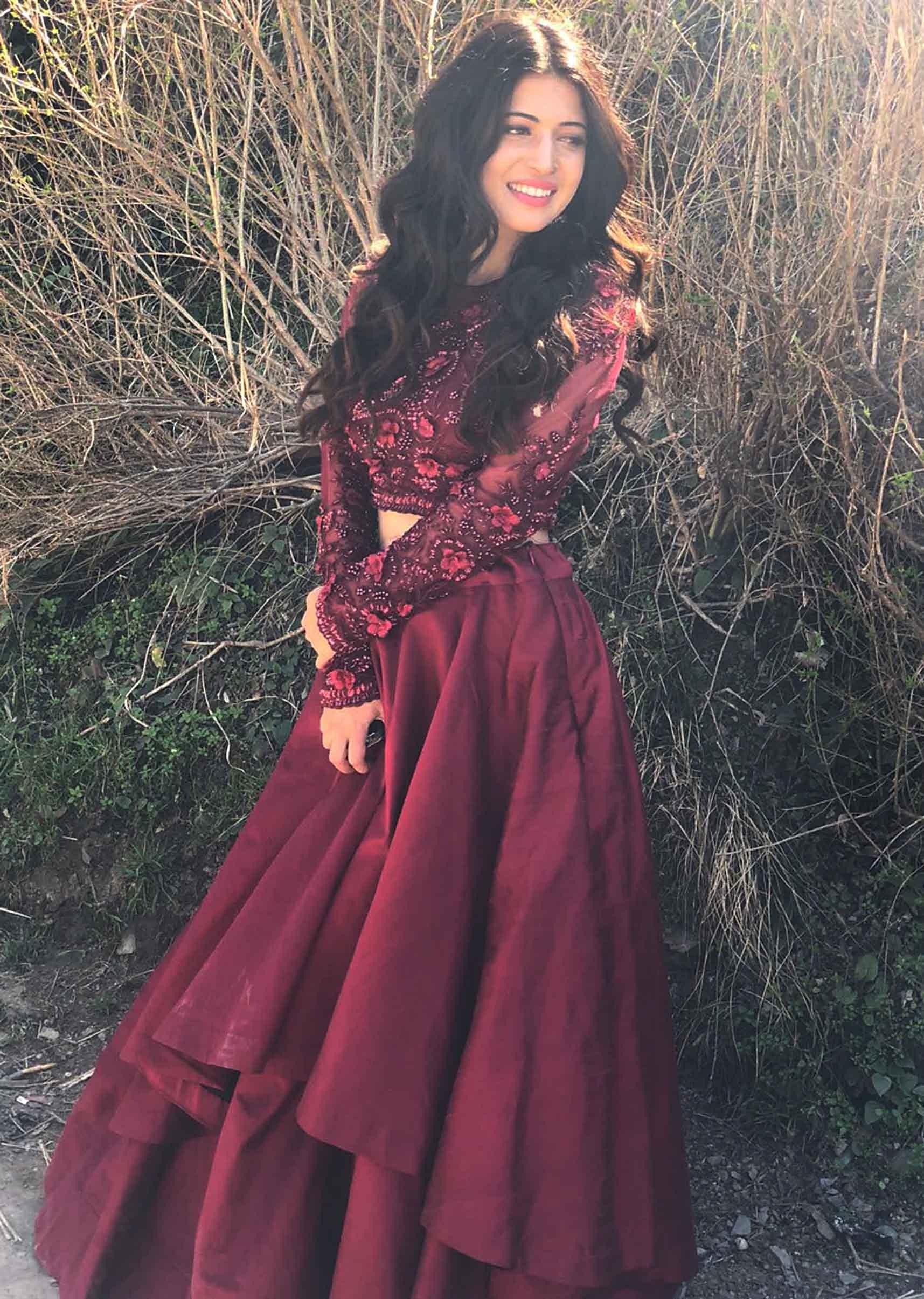 5908adf2f4 Charlie Chauhan in Kalki maroon double layer skirt with embroidered crop top  blouse