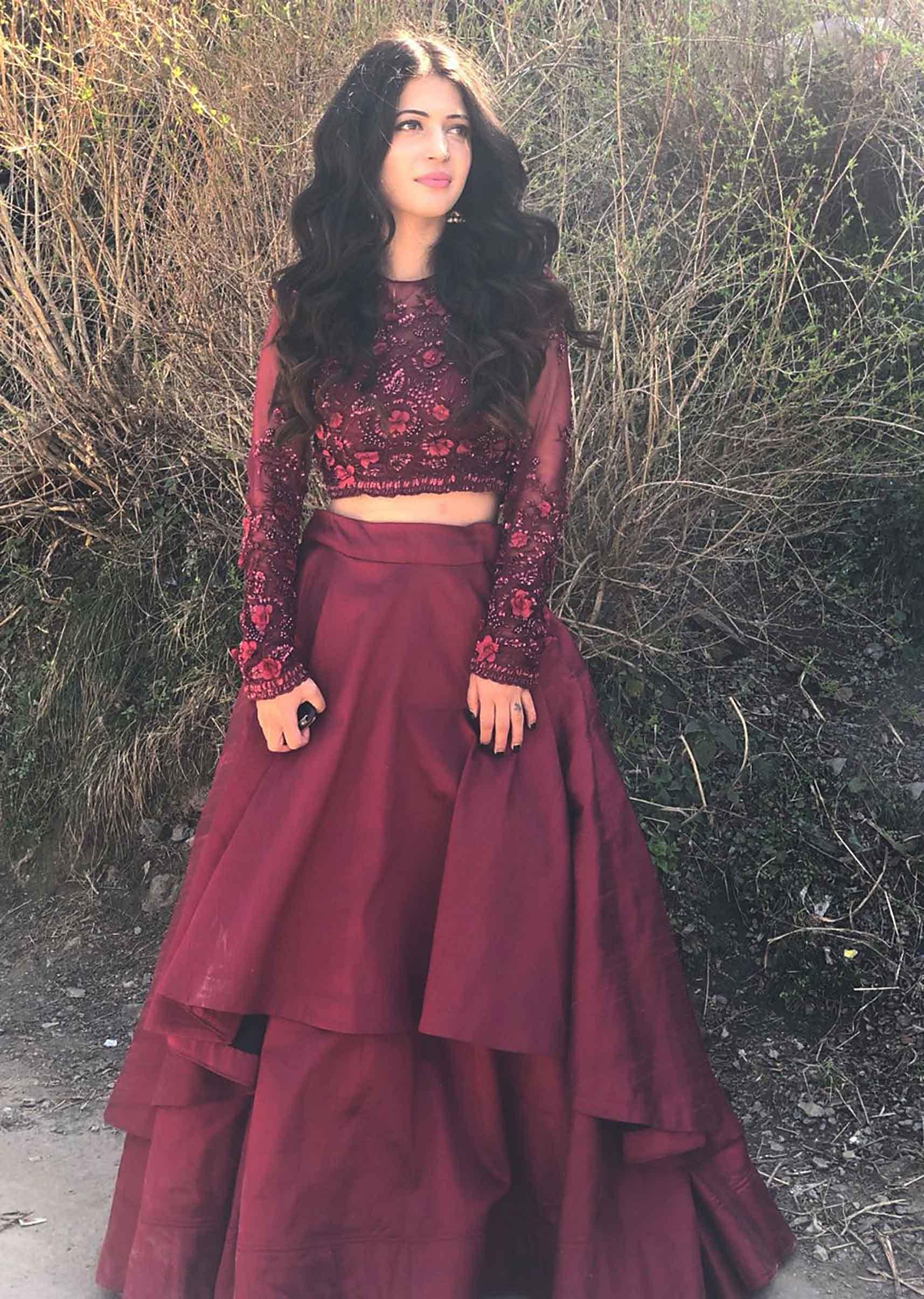 2a4ed2b5cb Charlie Chauhan in Kalki maroon double layer skirt with embroidered crop top  blouseMore Detail