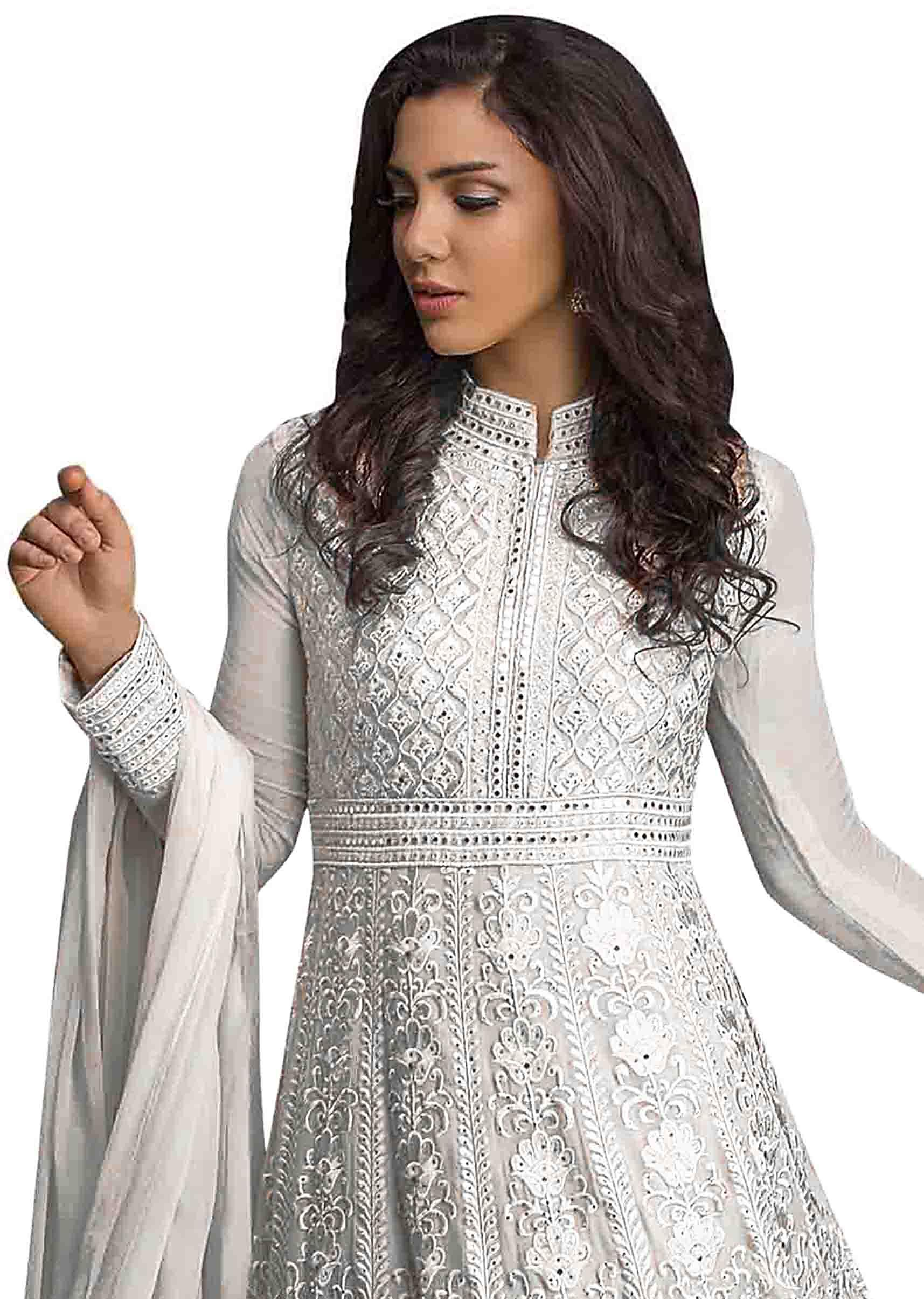 61897aa87f Snow white anarkali suit in resham and kundan work all over