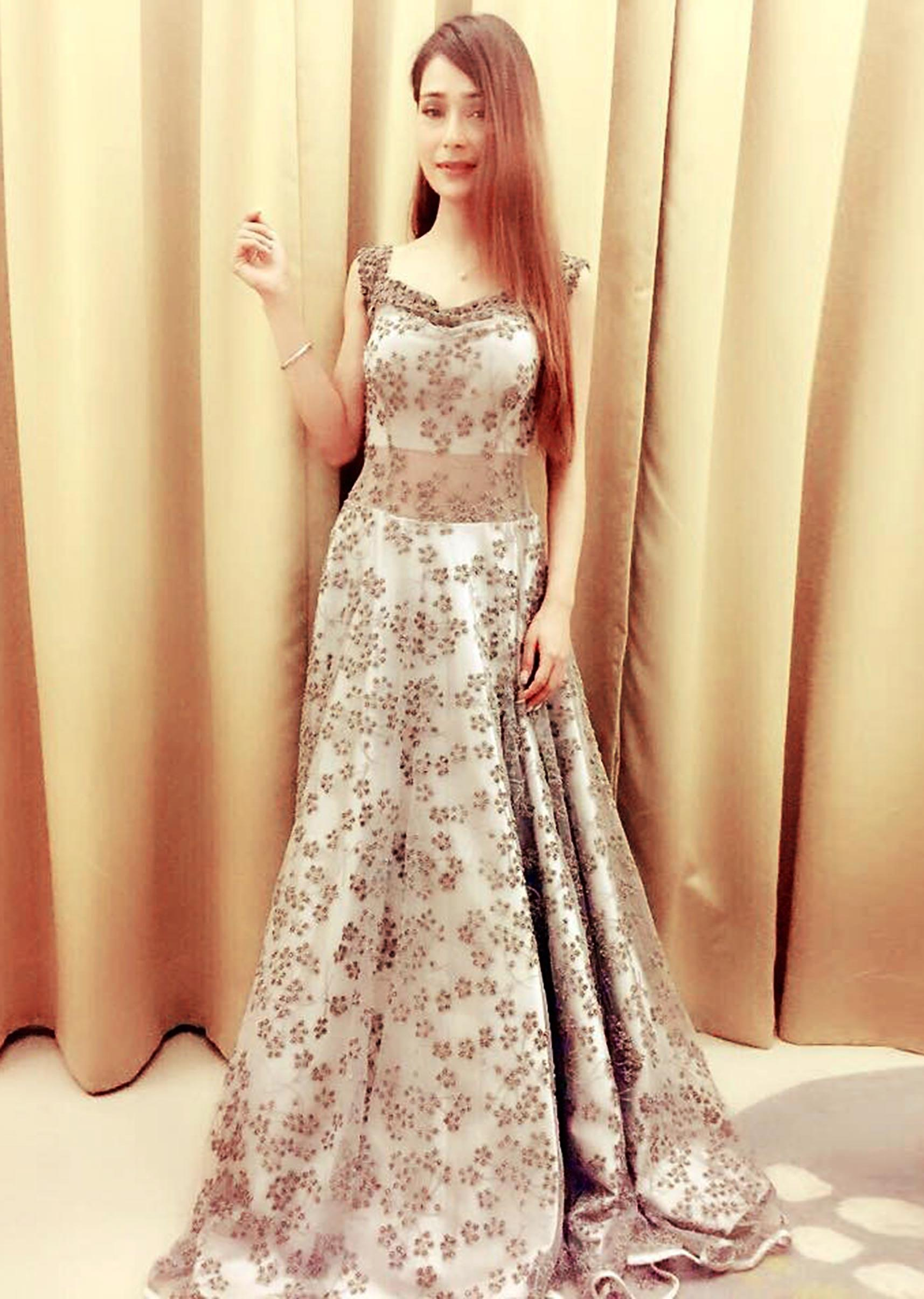 0288695d4525 Off Shoulder Grey Net Gown Adorned with Embroidered Floral Motifs only on  KalkiMore Detail