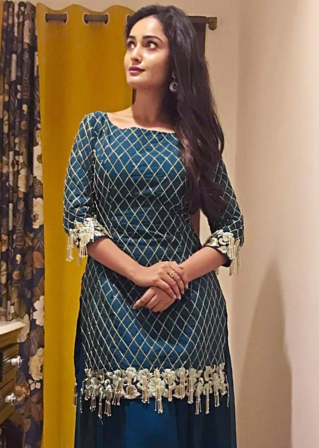 Tridha Choudhury in Kalki teal blue palazzo suit beautified in resham and embroidered work