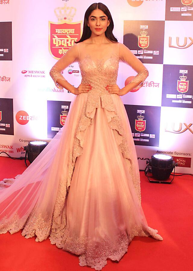 Mrunal Thakur in Kalki pink ballroom gown with centre frills and embroidery