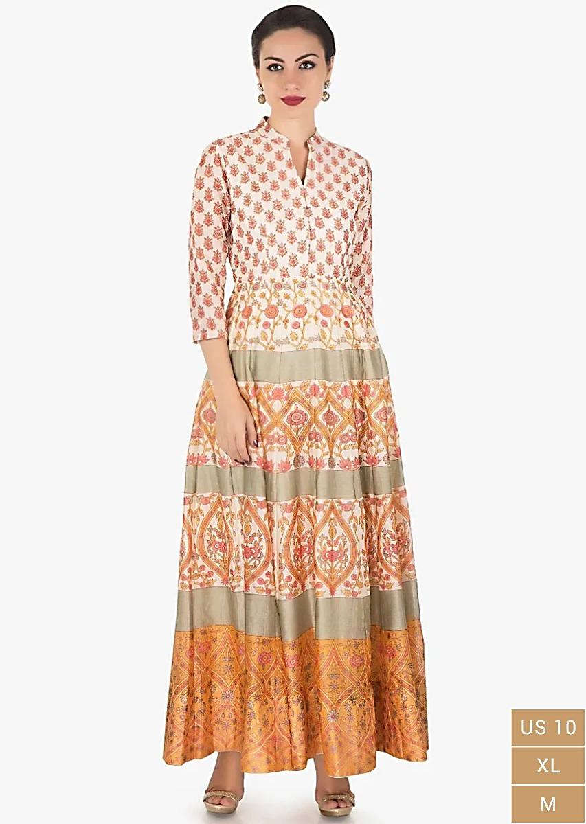 Ivory Dress In Cotton Silk With Pink And Mustard Floral Print Online - Kalki Fashion