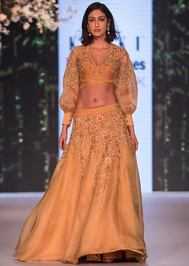 Mustard Yellow Lehenga Choli In Organza With Floral Embroidery Online - Kalki Fashion