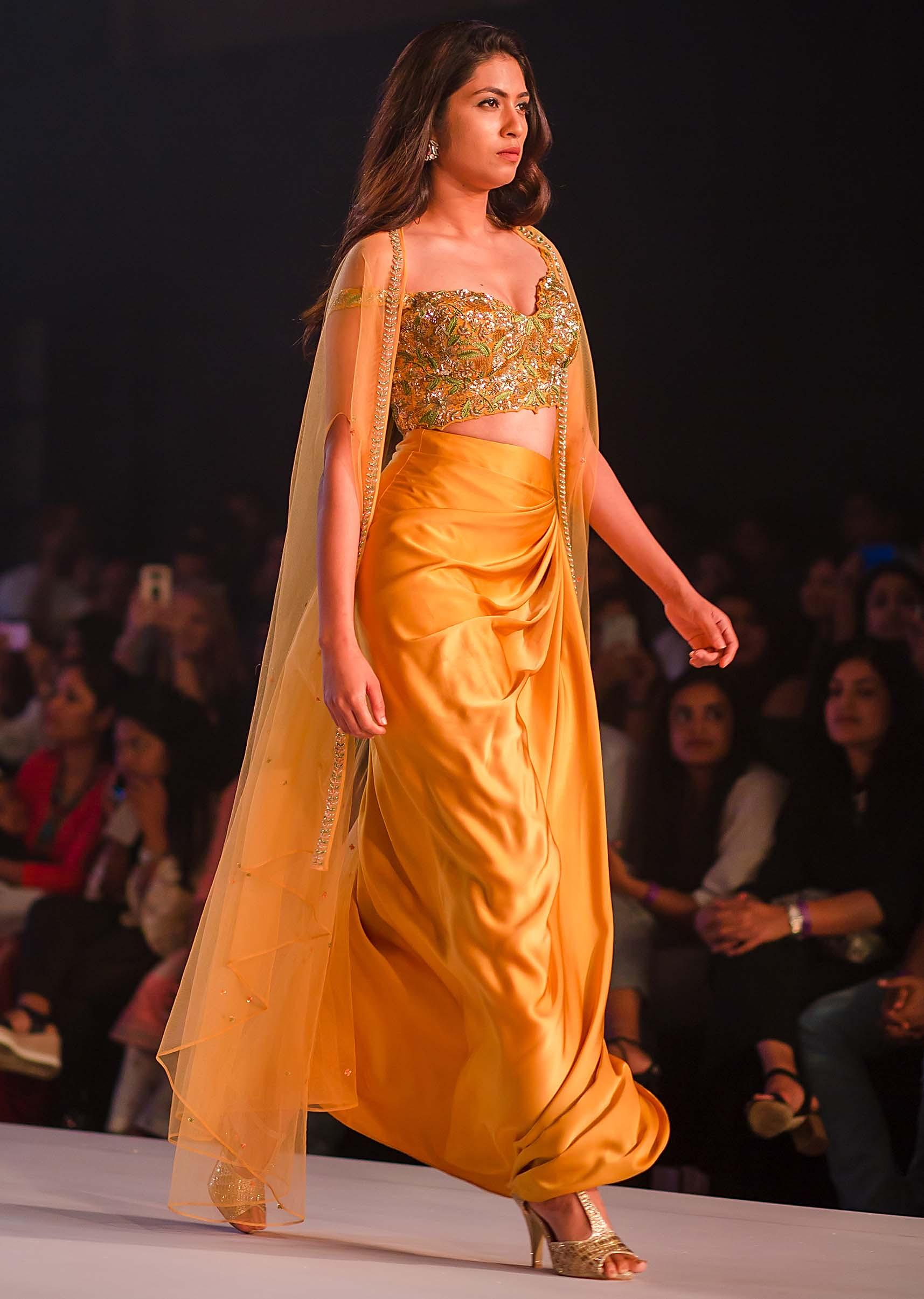 Buy Mustard Skirt In Cowl Drape Matched With Embroidered Blouse And Fancy Jacket Online Kalki Fashion
