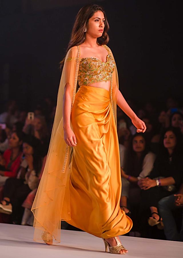 Mustard Skirt In Cowl Drape Matched With Embroidered Blouse And Fancy Jacket Online - Kalki Fashion