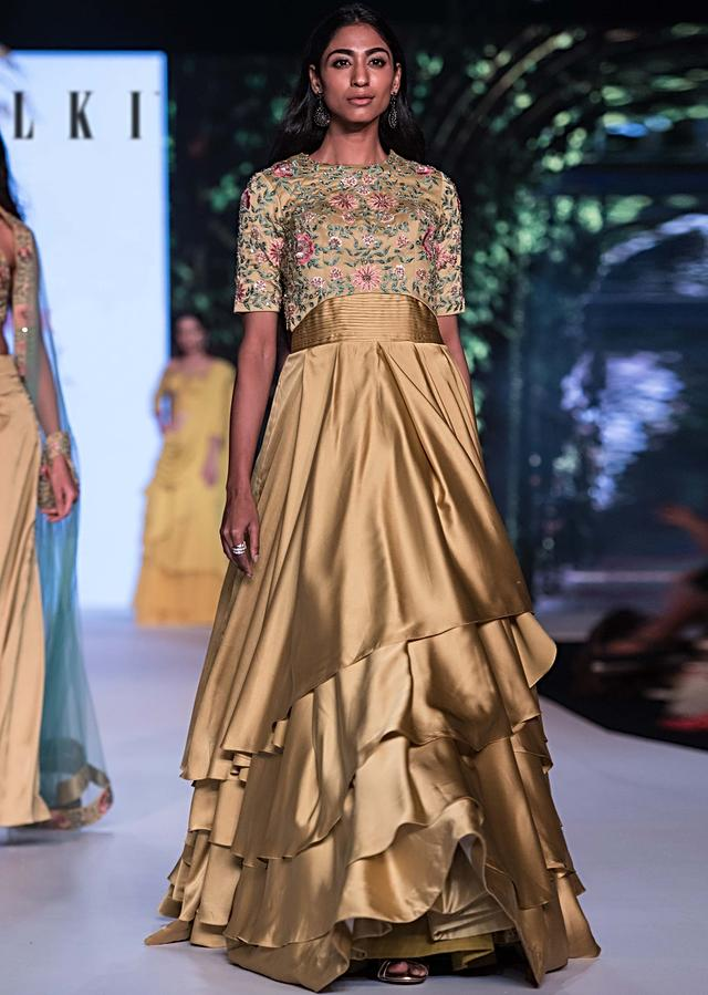 Corn Green Gown With Added Crop Top Blouse In Floral Embroidery Online - Kalki Fashion