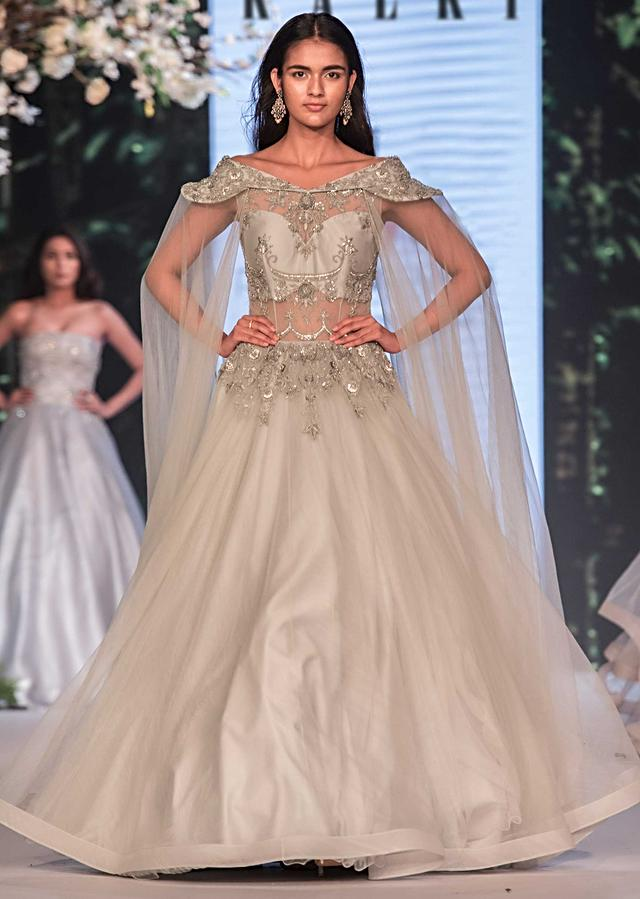 Light Grey Off Shoulder Gown In Net With Embroidered Bodice Online - Kalki Fashion