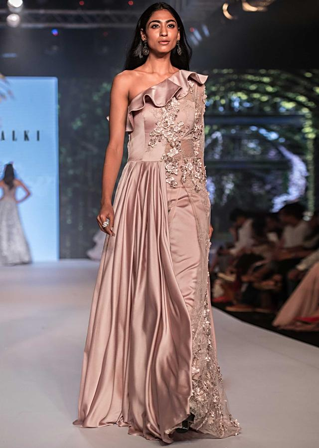 Soft Lavender A Line Suit With Ruffle Neckline And 3D Flower Matched With Pants Online - Kalki Fashion