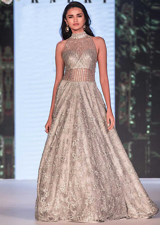 Grey Gown In Embroidered Net With Sheer Yoke And Waist Line Online - Kalki Fashion