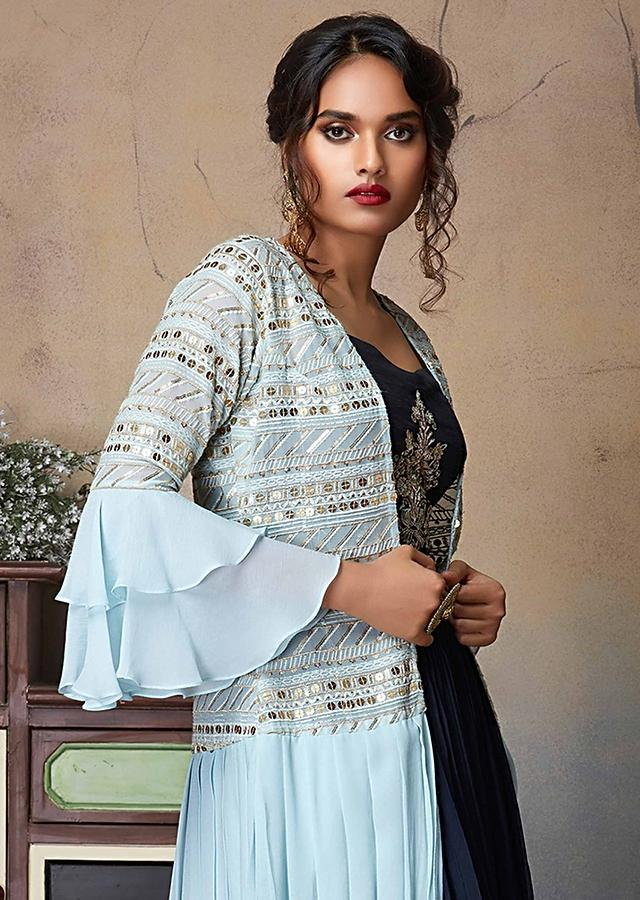 Space Blue Lehenga And Crop Top With A Powder Blue Long Jacket With Cowl Drape Online - Kalki Fashion
