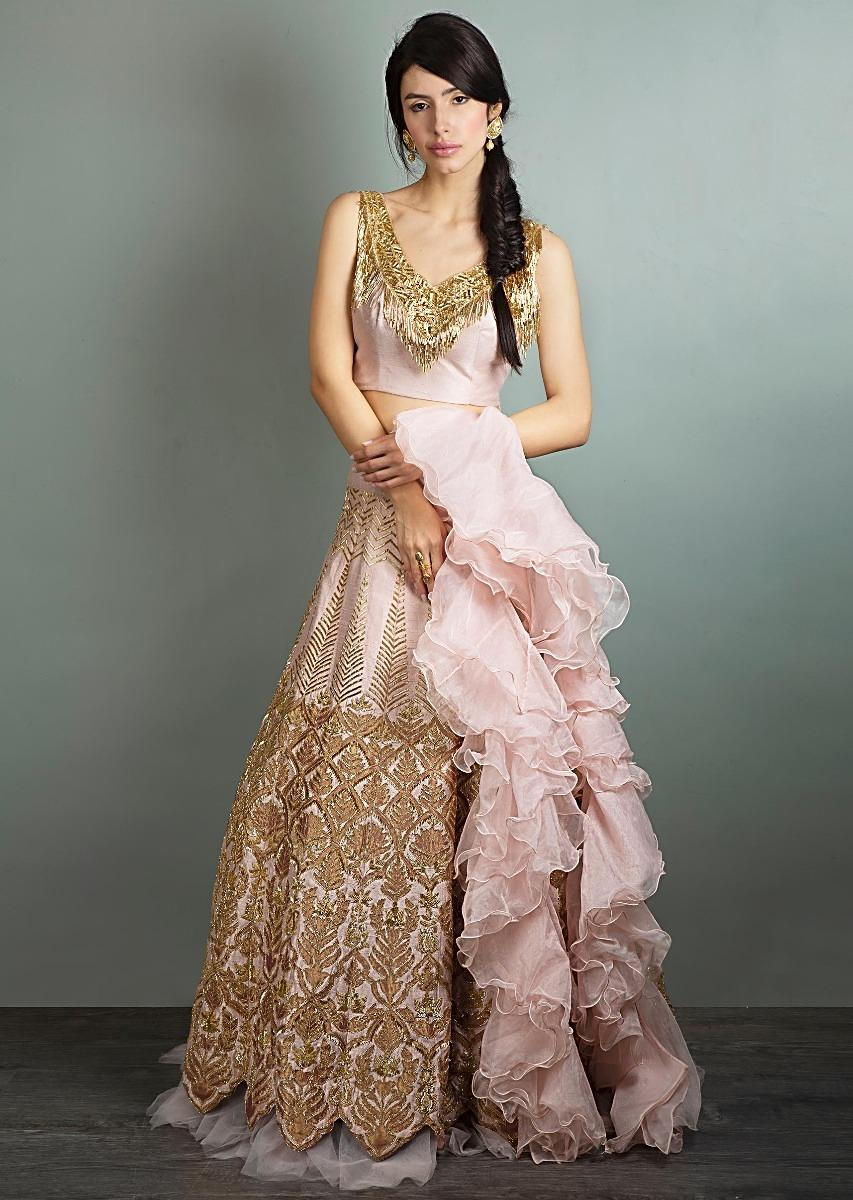 Cut dana embroidered raw silk blouse and lehenga with ruffled organza  dupatta only on Kalki ebf5dbd87