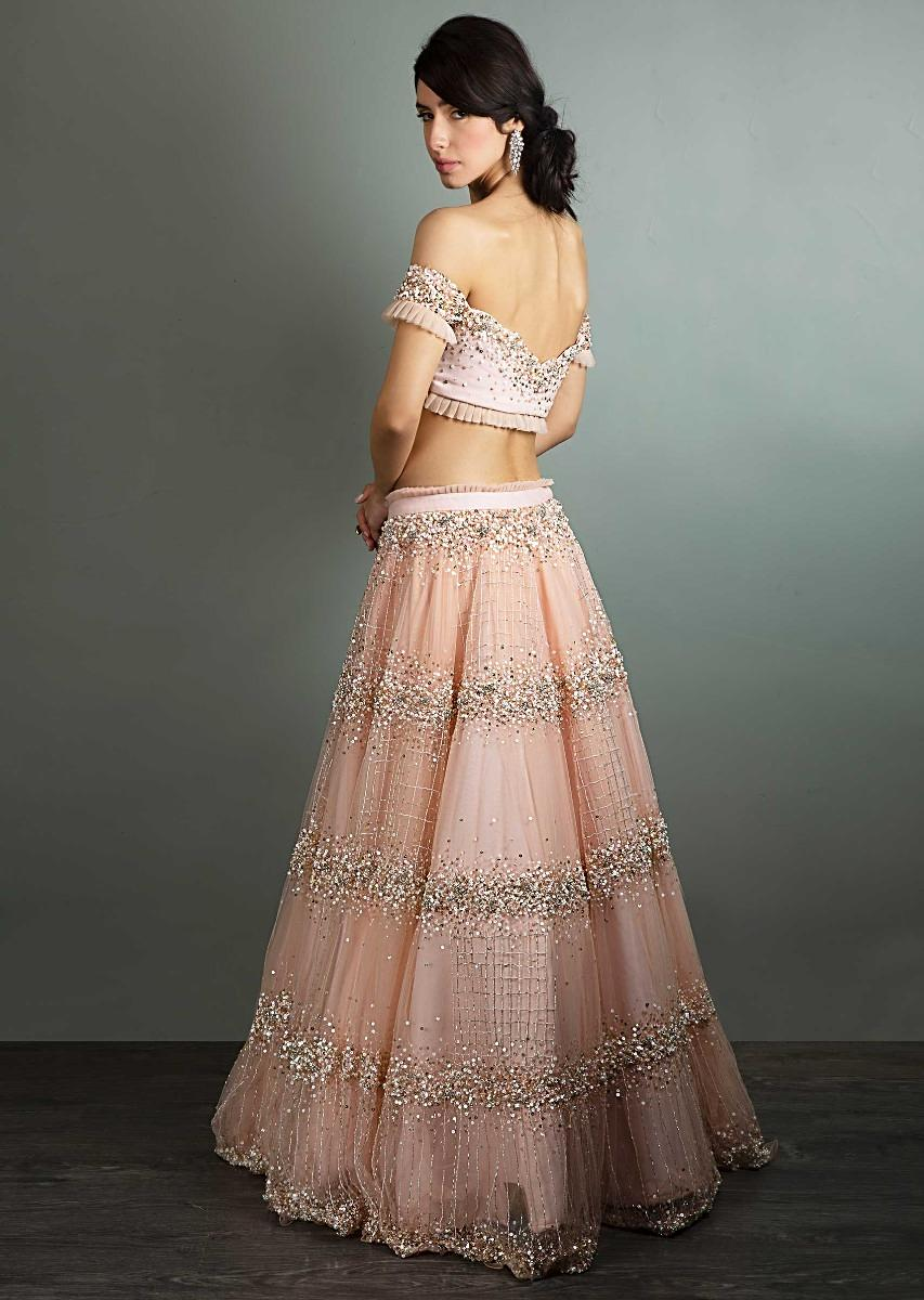 6dfc337ff Peach off shoulder crop top paired with matching net skirt in moti and sequins  embroidery only ...