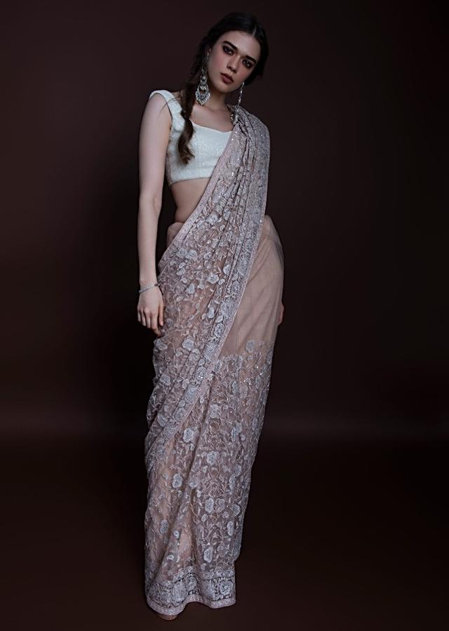 English Peach Saree In Hard Net With Floral Jaal Embroidery Online - Kalki Fashion