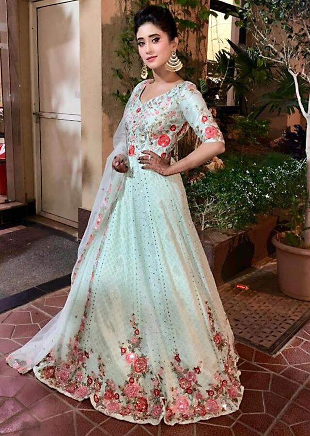 Shivangi Joshi in Kalki Pistachio green georgette anarkali in lucknawi thread work