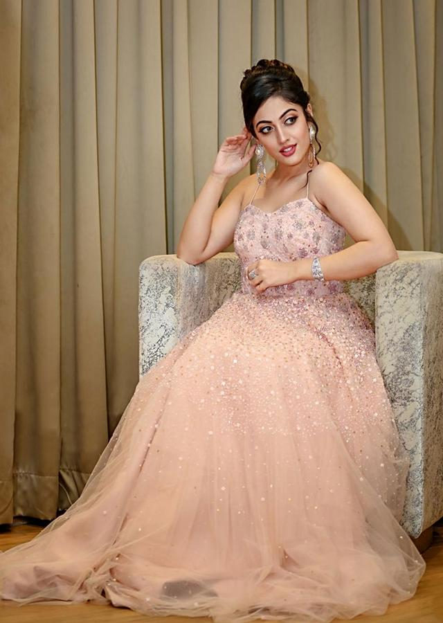 Aditi Sharma In Kalki Blossom Peach Corset Gown In Net With Sequins Work