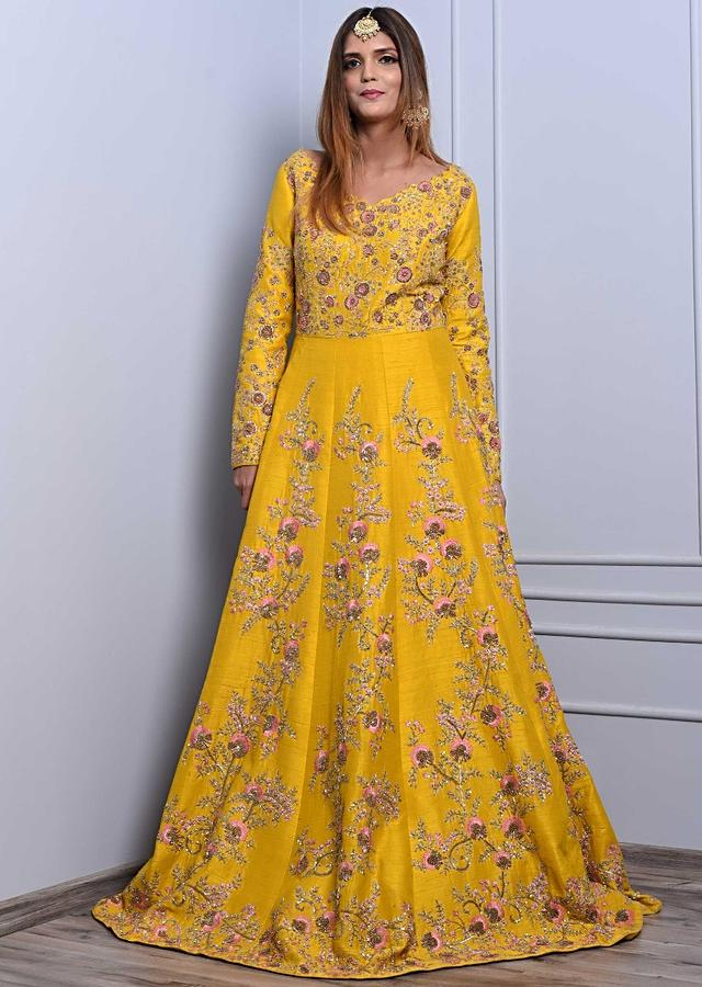 Chrome Yellow Anarkali Dress In Raw Silk With Multi Color Floral Resham Embroidery Online - Kalki Fashion