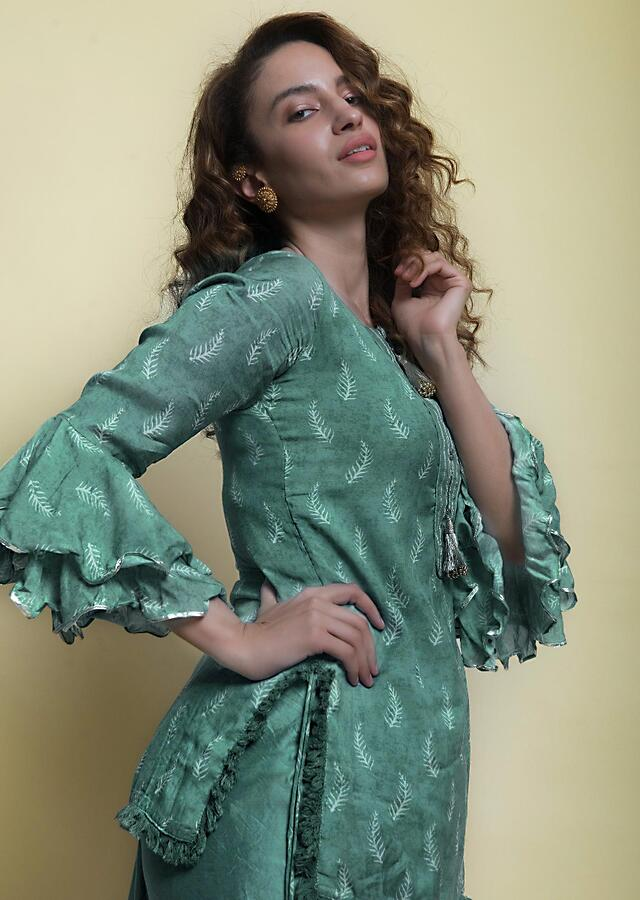Jungle Green Top In Cotton Silk With Print And Fancy Dhoti Pant Online - Kalki Fashion