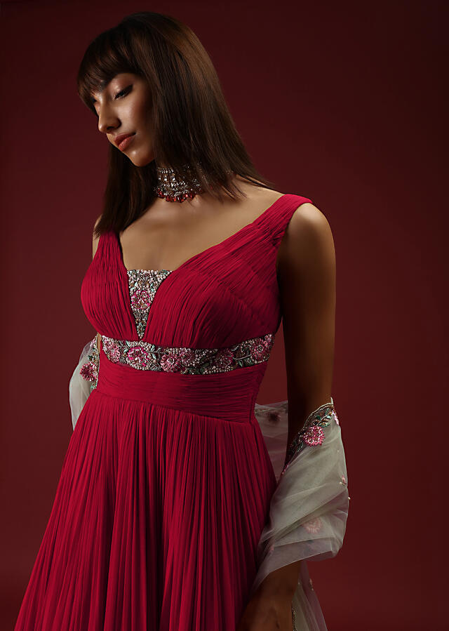 Red Anarkali Gown With Ruching On The Bodice And Sheer Hand Embroidered Patches With Multicolored Resham Work Online - Kalki Fashion