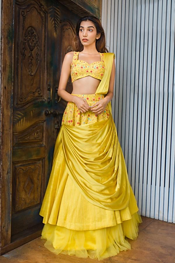 Vinny Arora in Kalki Butterscotch Yellow Layered Lehenga Paired With Embroidered Blouse And Net Dupatta