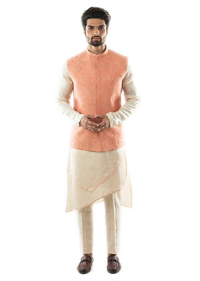 A Peach Nehru Jacket With Overall Tonal Embroidery Paired With A Double Panel Kurta Set Online - Kalki Fashion