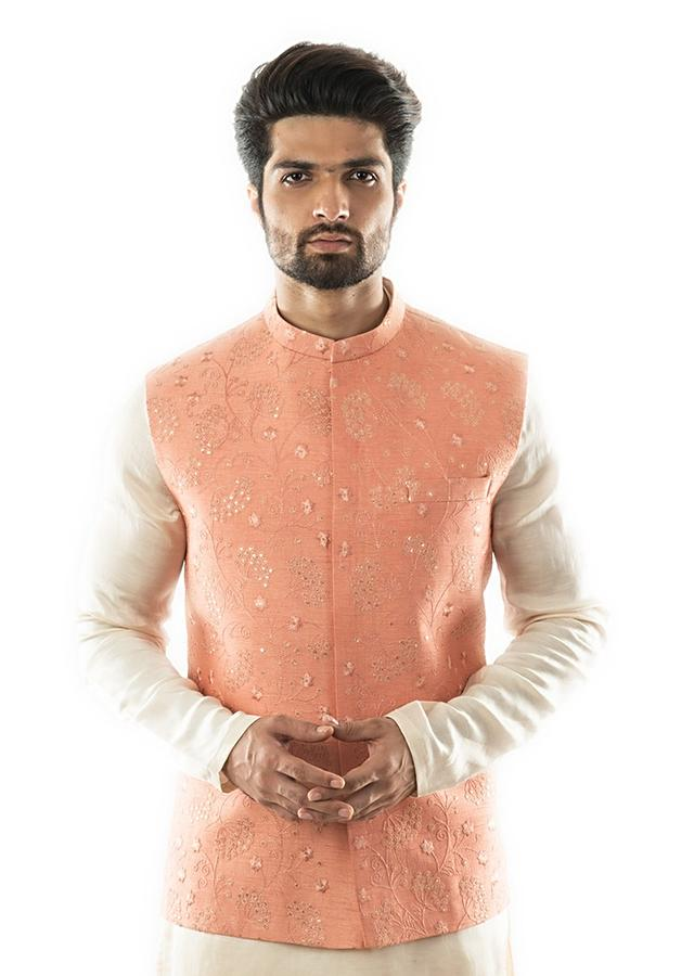 A  Peach Nehru Jacket With Overall Tonal Embroidery, Highlighted With Sequins Online - Kalki Fashion