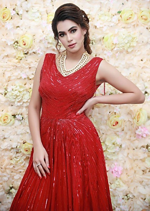 Haute Red Gown In Satin Silk Adorned With Self Moti And Sequins Embroidery Online - Kalki Fashion