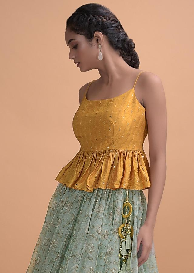 Acadia Green Skirt Floral Print And Badla Work With Yellow Peplum Top Online - Kalki Fashion