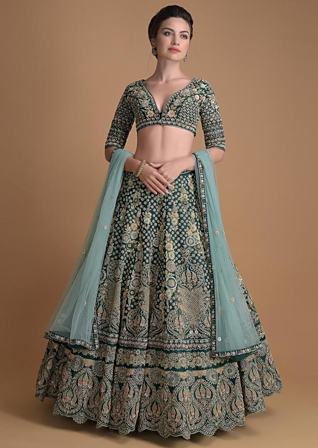 Aditi Rao Hydari As Kalki Showstopper In Emerald Green Lehenga Choli With Hand Embroidered 3D Floral Pattern