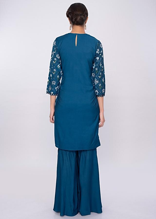 Admiral Blue Sharara Suit In Cotton With Floral Resham Embroidery Online - Kalki Fashion