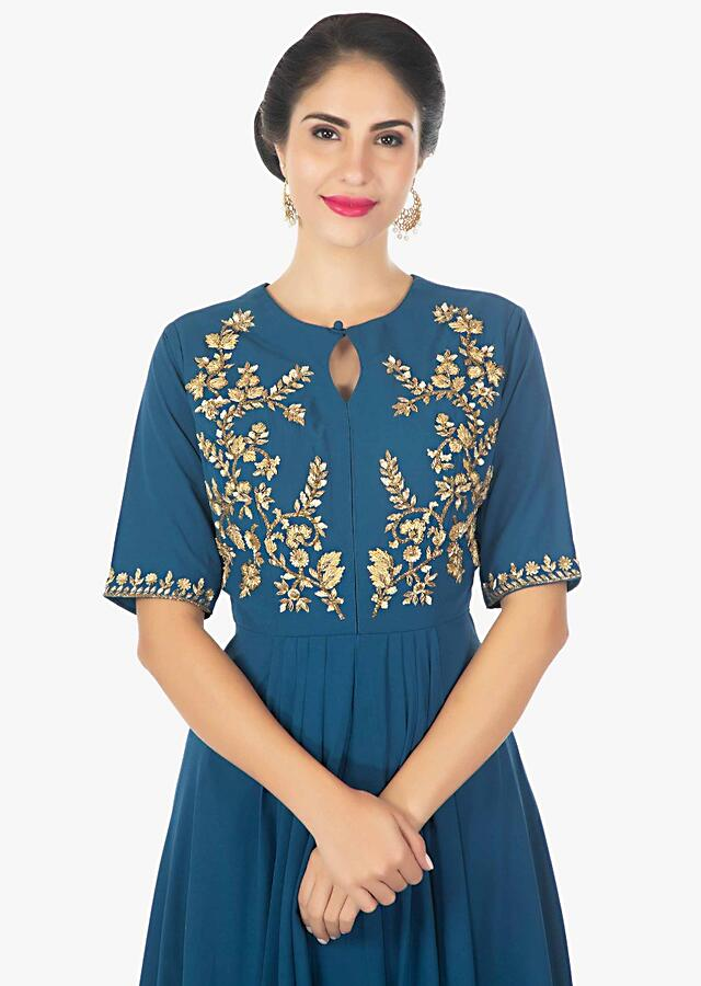 Admiral blue front short back long kurti with a fancy dhoti pant only on Kalki-Blue