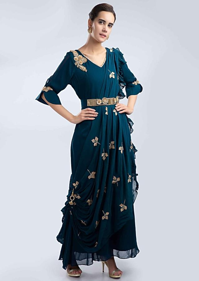 Admiral Blue Tunic In Georgette With A Pre Stitched Draped Wrap Around Online - Kalki Fashion