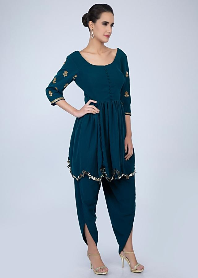 Admiral Blue Suit In Heavy Georgette With Matching Dhoti Pant Online - Kalki Fashion